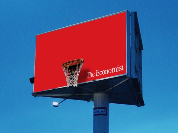 Vrij werk: gigaboard voor The Economist