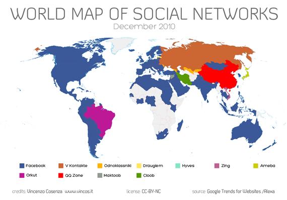 Sociale netwerken op de wereldkaart