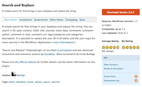 Search and Replace WordPress plugin