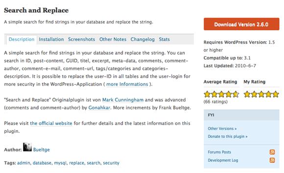 Search and Replace WordPress plugin