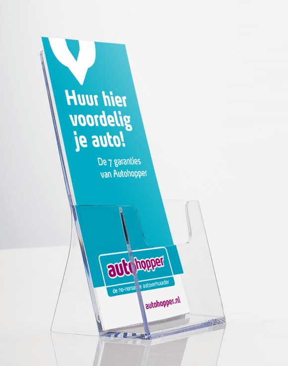 Autohopper autoverhuur display toonbank