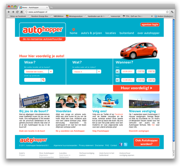 Autohopper autoverhuur website