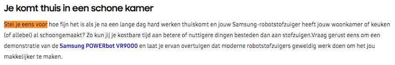 Stel je voor-copywriting op de Nederlandse website van Samsung