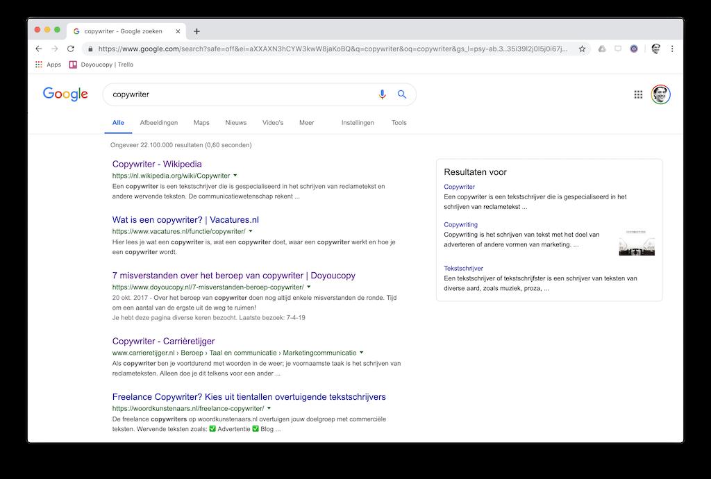 Hoog in Google op het zoekwoord 'copywriter'
