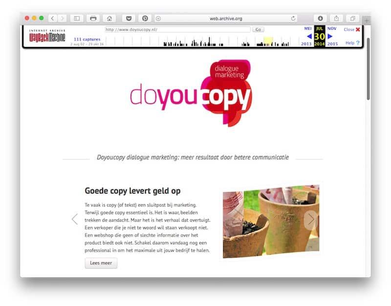 Doyoucopy.nl in de zomer van 2014