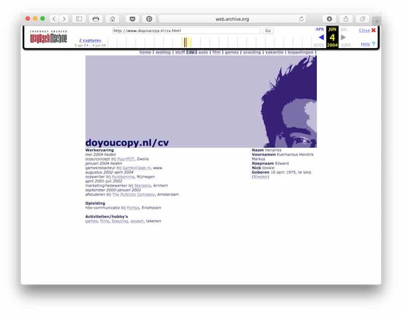 Zo zag doyoucopy.nl er in 2004 uit: een weblog