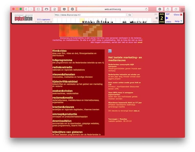 Doyoucopy.nl als startpagina voor media- en reclamelinks