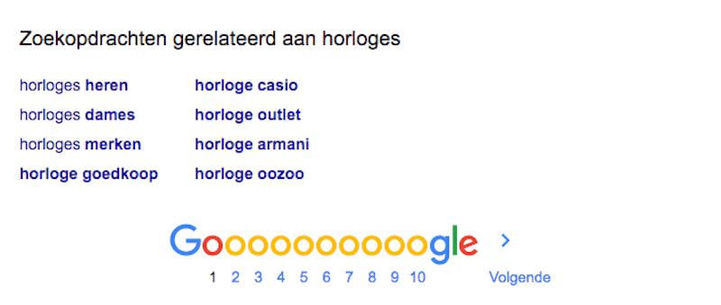 Gerelateerde zoekwoorden vind je onder aan de zoekresultatenpagina