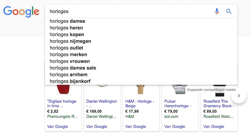 Je zoekwoorden vult Google automatisch aan