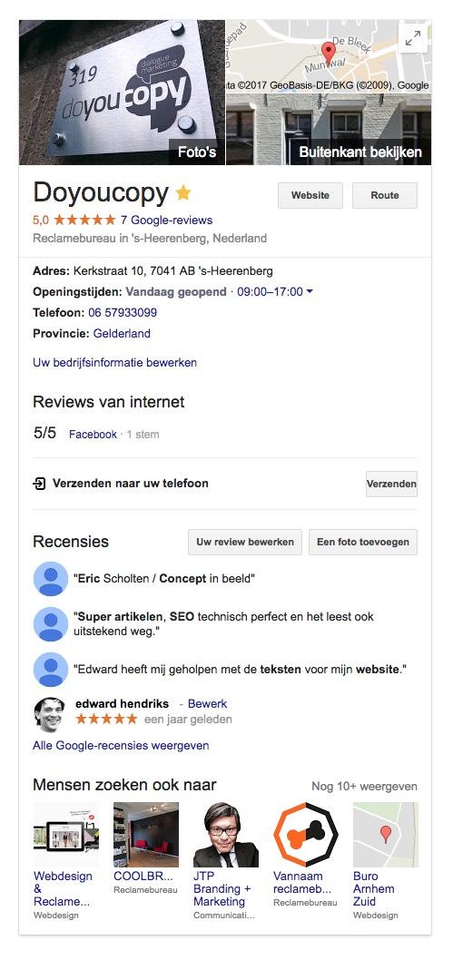 De bedrijfspagina van Doyoucopy in Google