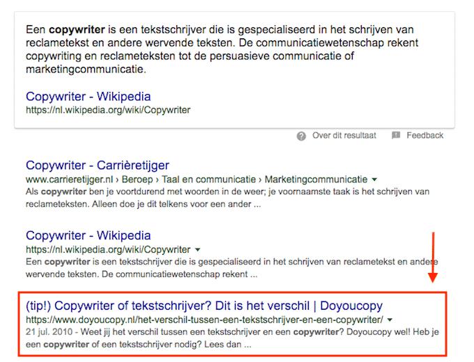 Doyoucopy op 3 in Google (of 4, als je het aanbevolen fragment op positie 0 meetelt)