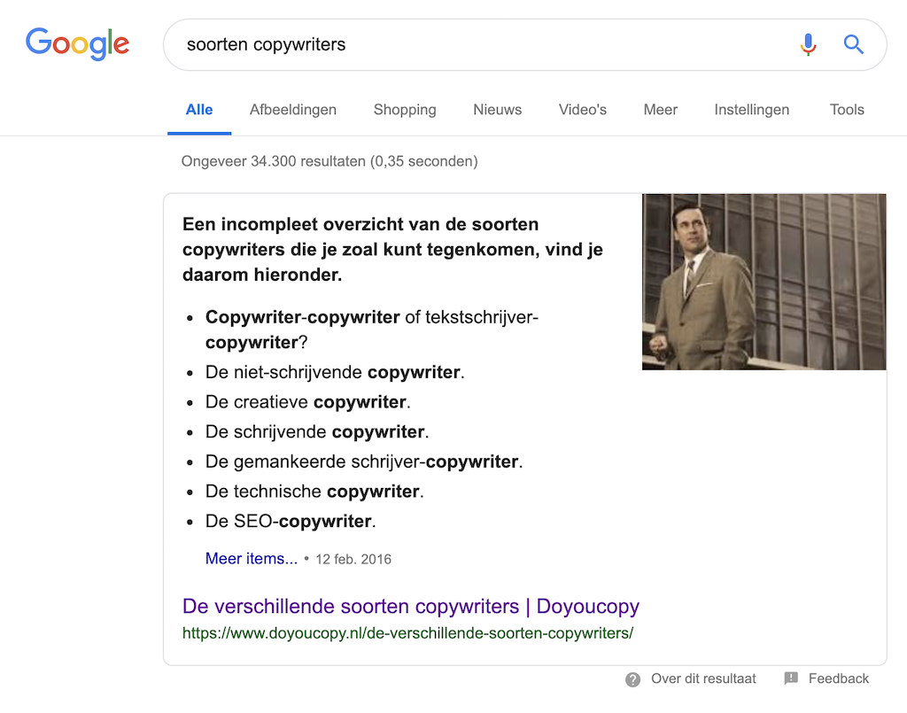 Featured snippet voor soorten copywriters