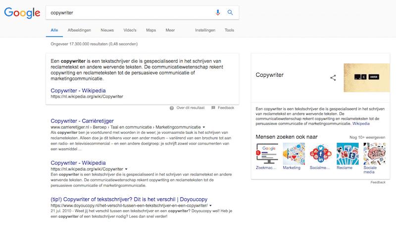 Hoog in Google met een goede copywriter