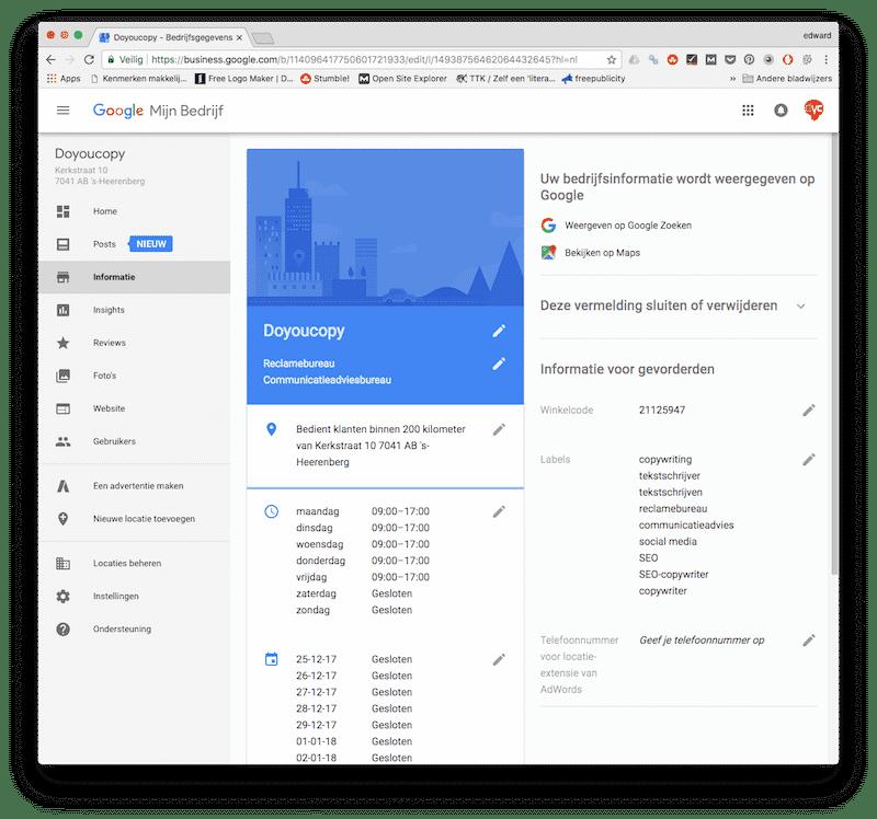 Het dashboard van Google Mijn Bedrijf