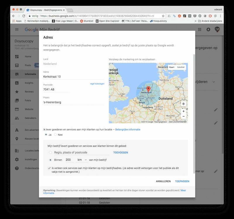 Je adres veranderen in Google Mijn Bedrijf
