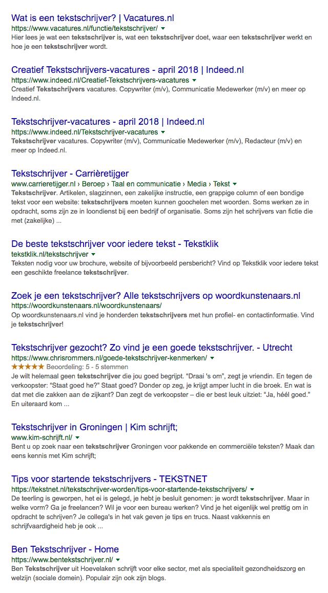 tekstschrijver op de eerste pagina in Google
