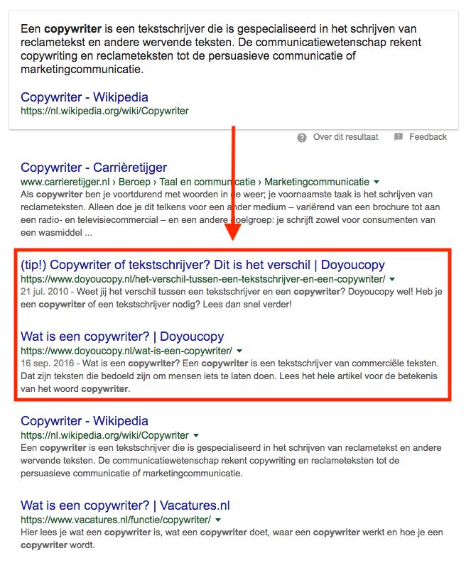 'Copywriter': op positie 2 en 3 in de organische zoekresultaten van Google