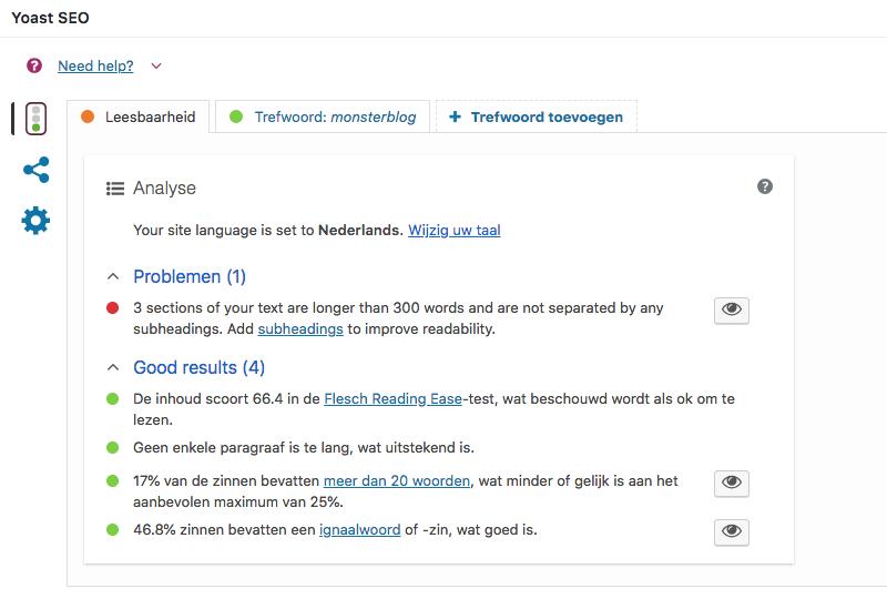 Verbeter je monsterblog op leesbaarheid en SEO met de plugin van Yoast