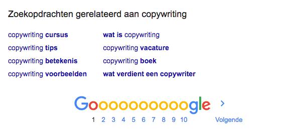 De gerelateerde zoekwoorden in Google op het zoekwoord 'copywriter'