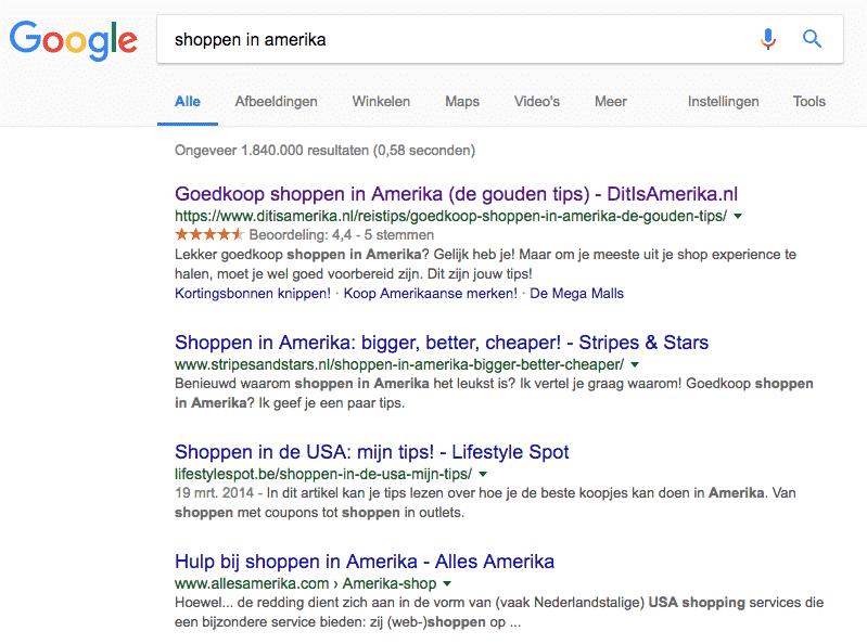 Voorbeeld van mijn monsterblog over 'shoppen in Amerika' in de zoekresultaten