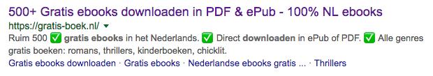 Een voorbeeld van sitelinks op mijn website Gratis-Boek.nl