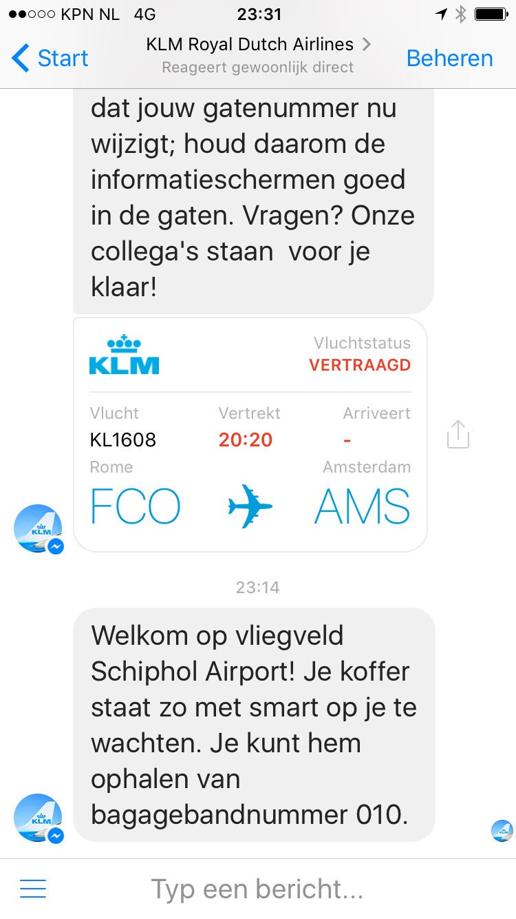 KLM op Messenger