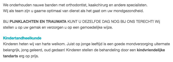 Formele tekst op de website van een tandarts