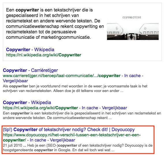 De hoogst genoteerde copywriter in Google