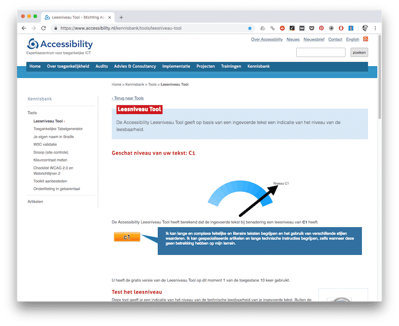 Accessibility Leesniveau Tool - tools voor copywriters