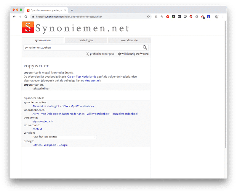 Synoniemen.net - tools voor copywriters