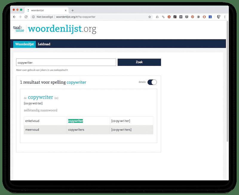 Woordenlijst.org - tools voor copywriters