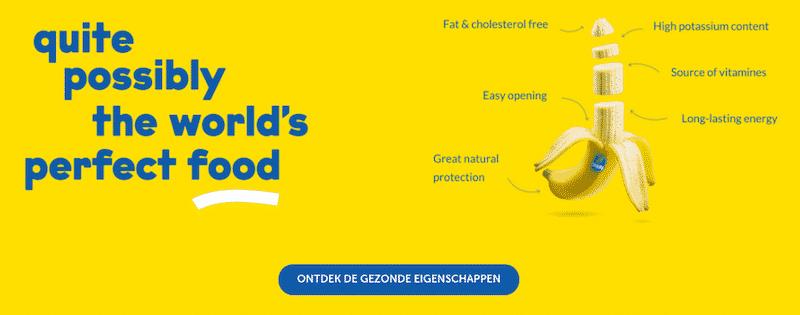 'Banaan' op de website van Chiquita