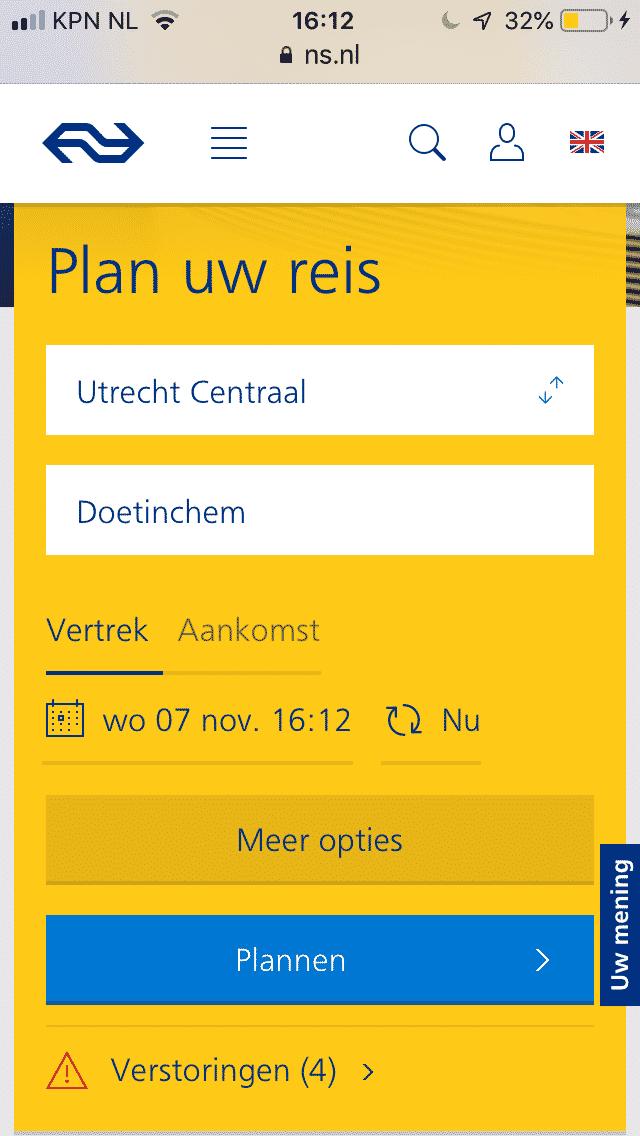 Volledig functionele mobiele website van de Nederlandse Spoorwegen