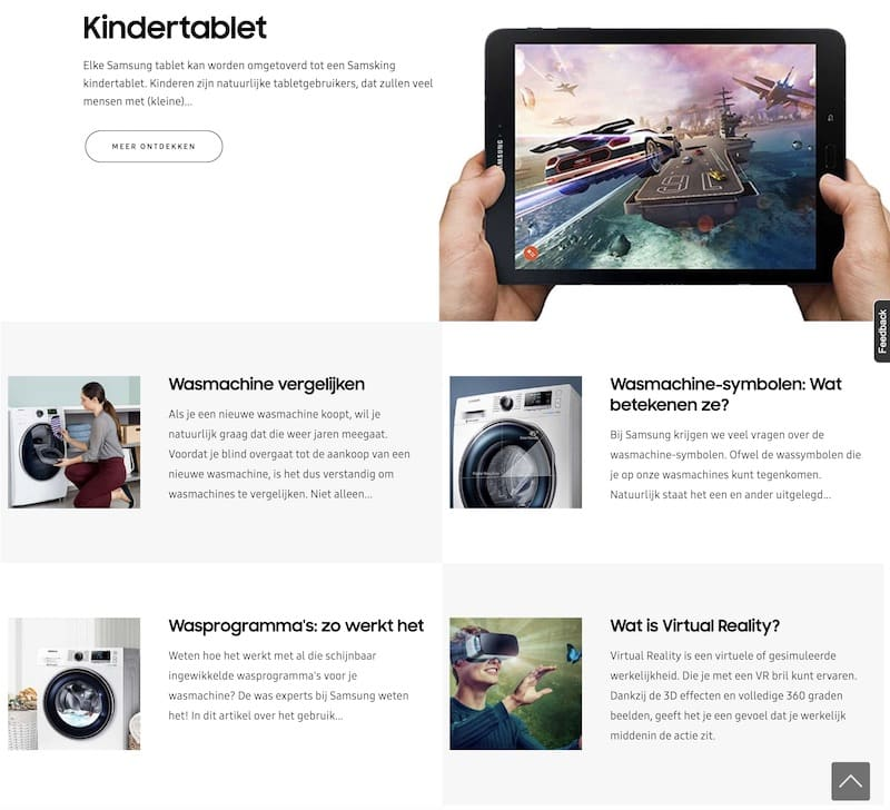 Webteksten en SEO-teksten Samsung