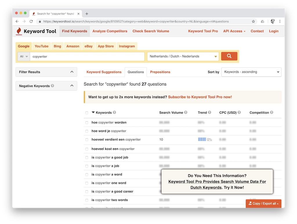Keyword Tool: alternatief voor de Zoekwoordplanner van Google