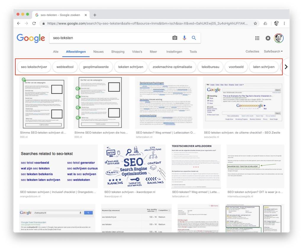 Zoekwoordideeën op Google Afbeeldingen